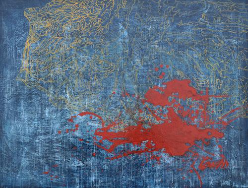 이름없는-붉은 멍 장지 위 혼합재료, 90x117, 2013.jpg