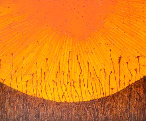 Alika Yon - African Sun - 72.7X60.6cm - Ink, Mica, Acrylic on Mulberry Paper on Board - 2018.jpg