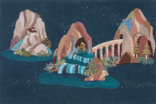 이은정, 세 개의 섬, embroidery, acrylic on canvas, 60.6x90.9cm, 2018.jpg