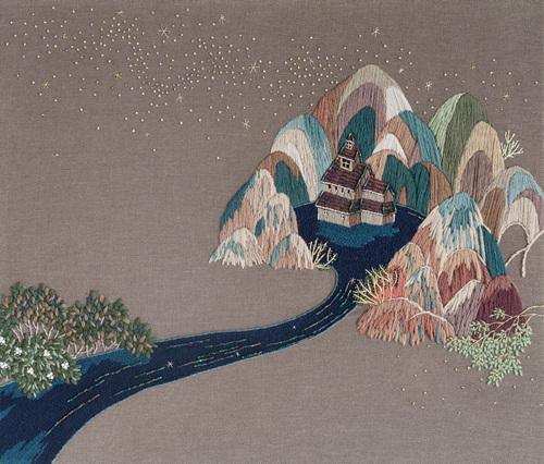 이은정, 흐르고 또 흐르다, embroidery on canvas, 45.5x53.0cm, 2017.jpg