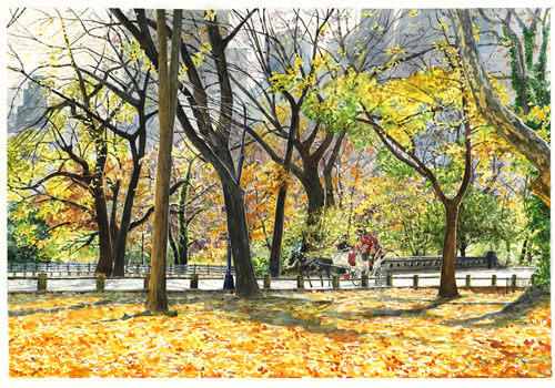 Central Park.pen and watercolor on paper. 56cmX38cm.2018((photo by Kazuhisa) OTSUBO)).jpg