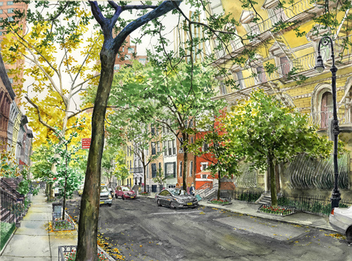 Upper East Side .pen and watercolor on paper. 56cmX42cm.2017.jpg