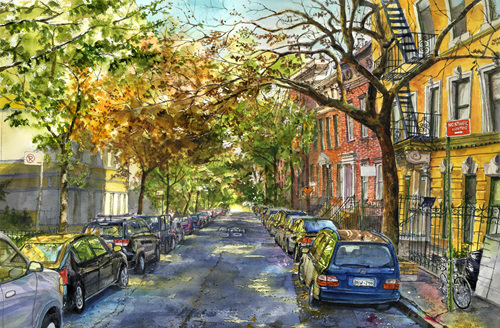 Greenwich Village.pen and watercolor on paper. 60cmX40cm.2017.jpg